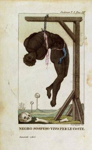 """Gravat de William Blake que il·lustra """"Un negre penjat d'una forca per les costelles"""" del capità John Gabriel Stedman a:Narrative of a Five Years Expedition Against the Revolted Negroes of Surinam, 1792."""
